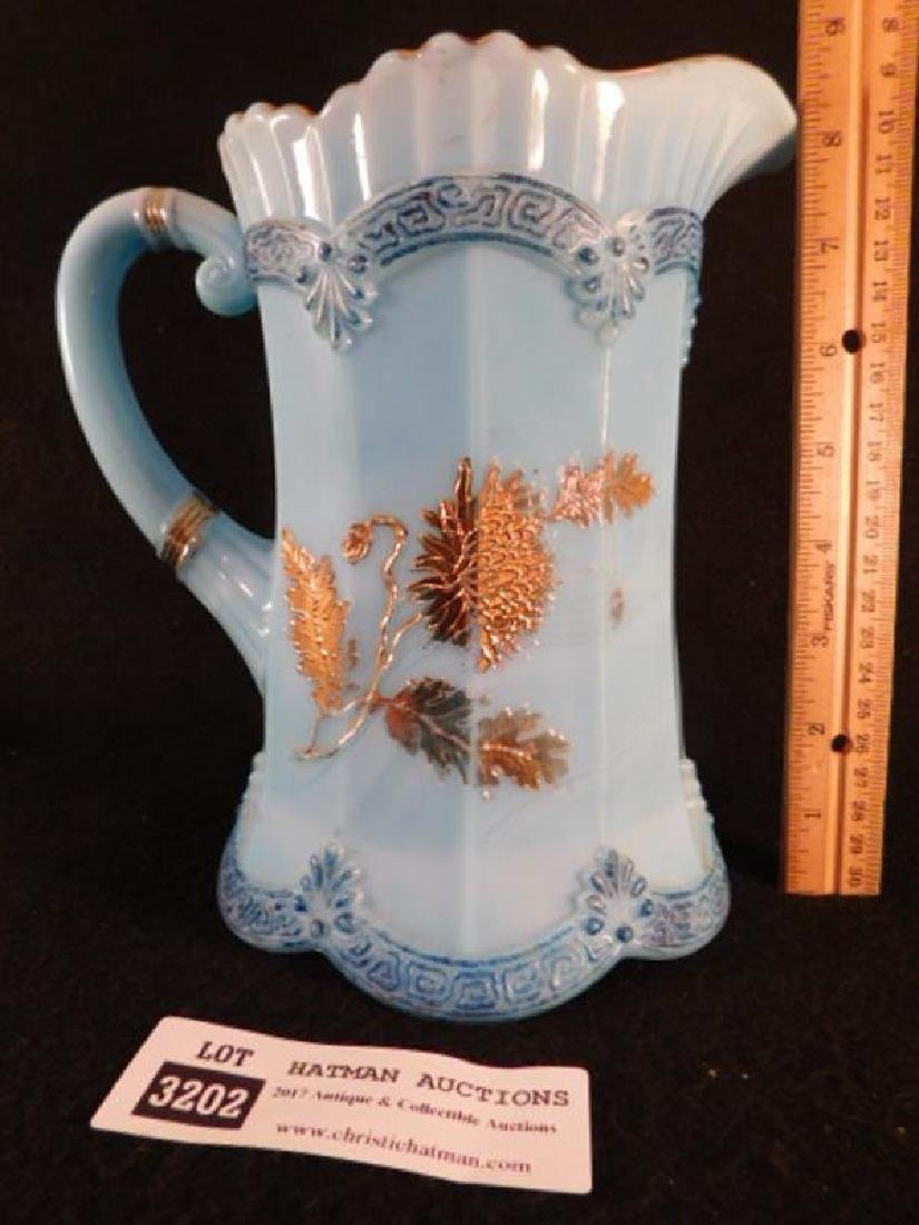 BLUE OPAQUE GILDED PITCHER CHRYSANTHEMUM SPRIG WATER - 2