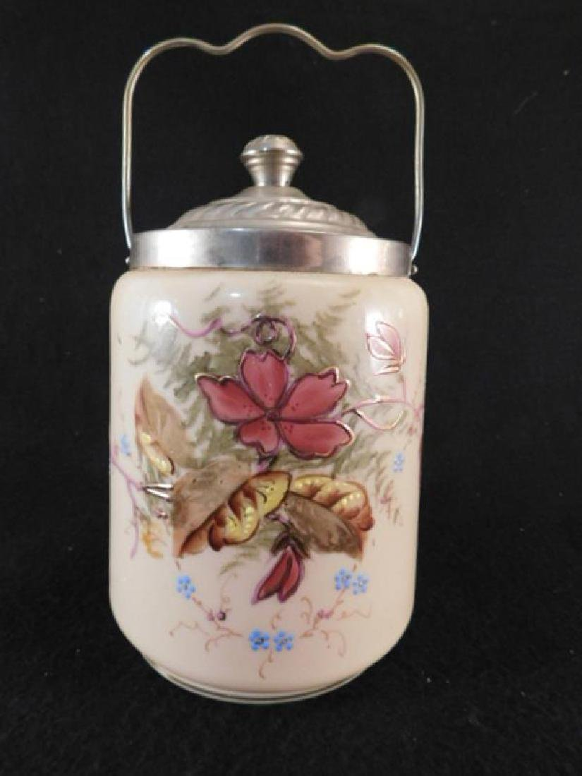 FIRE GLOW GLASS ENAMELED PAINTED BISCUIT CRACKER JAR