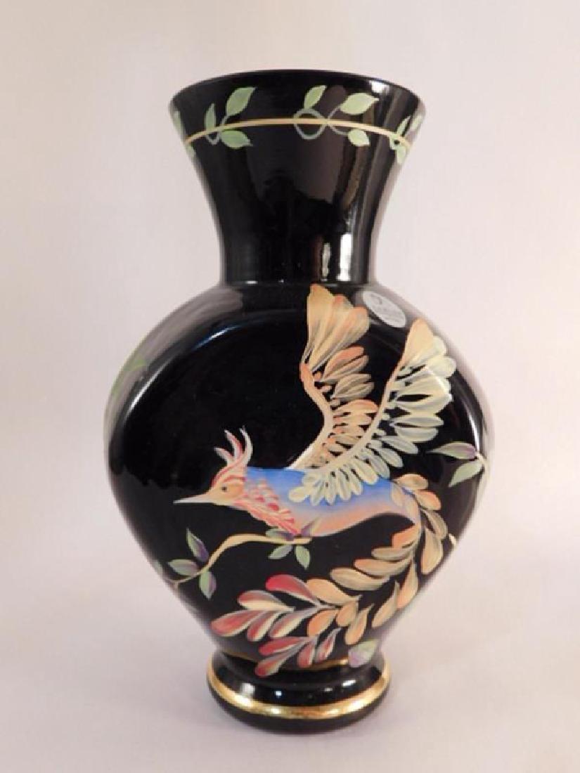 FENTON HAND PAINTED ART GLASS BIRD FIGURE VASE