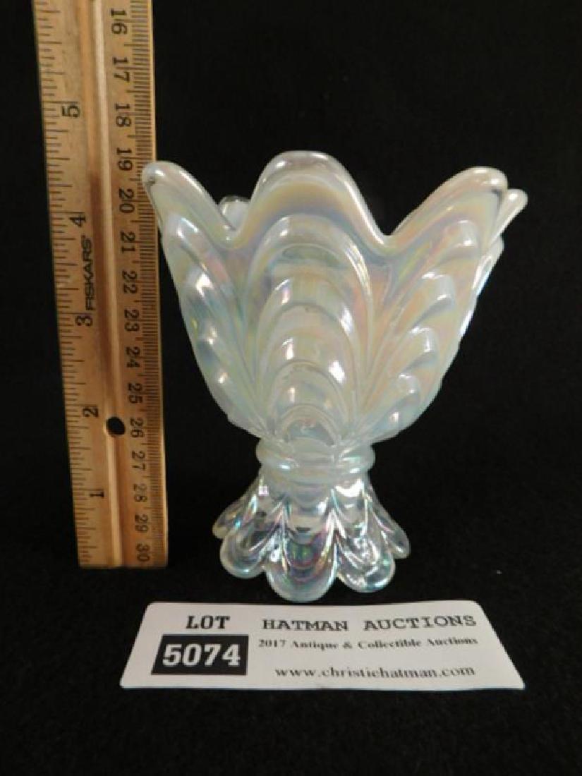FENTON ART GLASS USA HANDPAINTED VOTIVE OPAL MIST - 2