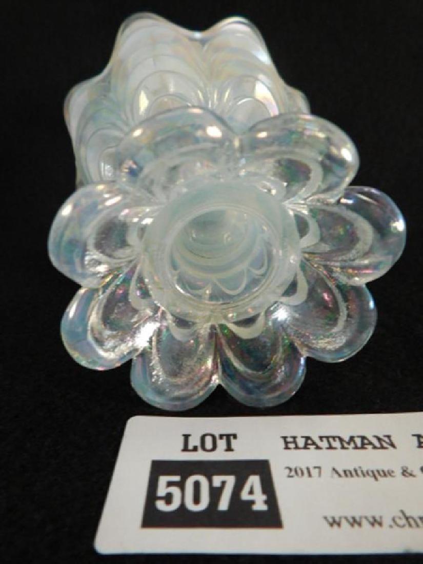 FENTON ART GLASS USA HANDPAINTED VOTIVE OPAL MIST - 3