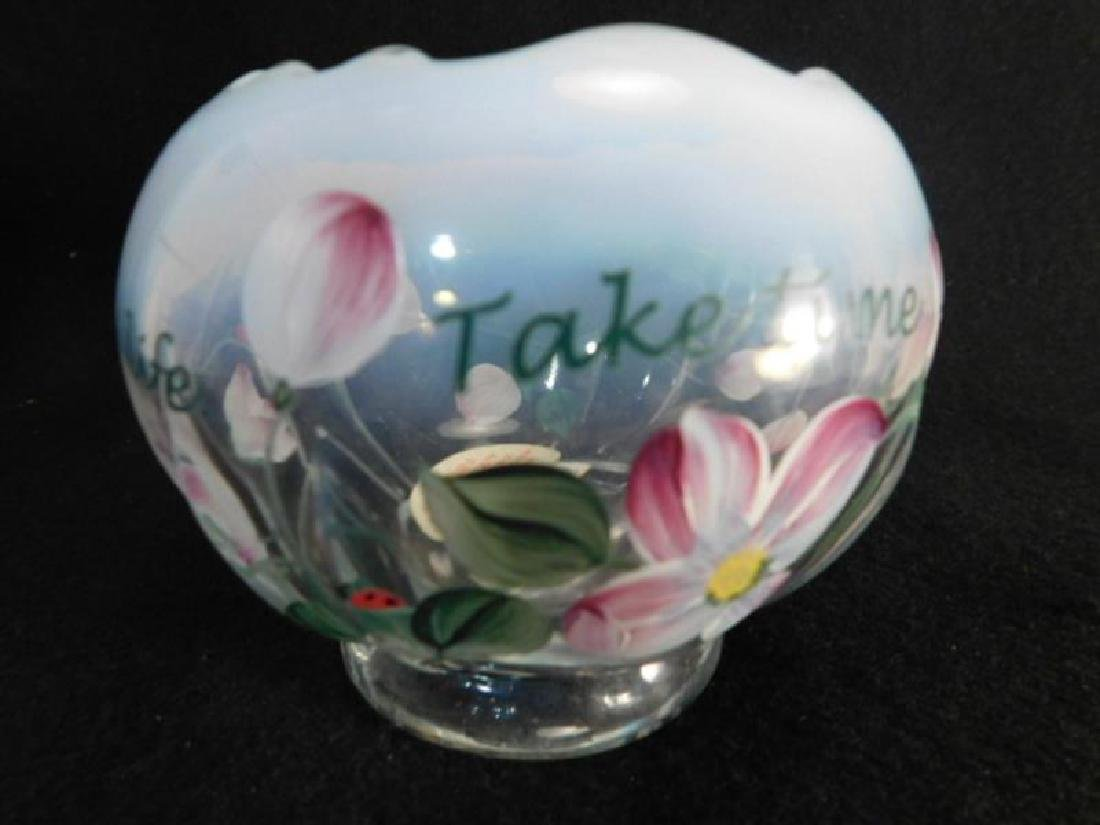 FENTON ART GLASS USA HANDPAINTED ROSE BOWL FRENCH OPAL