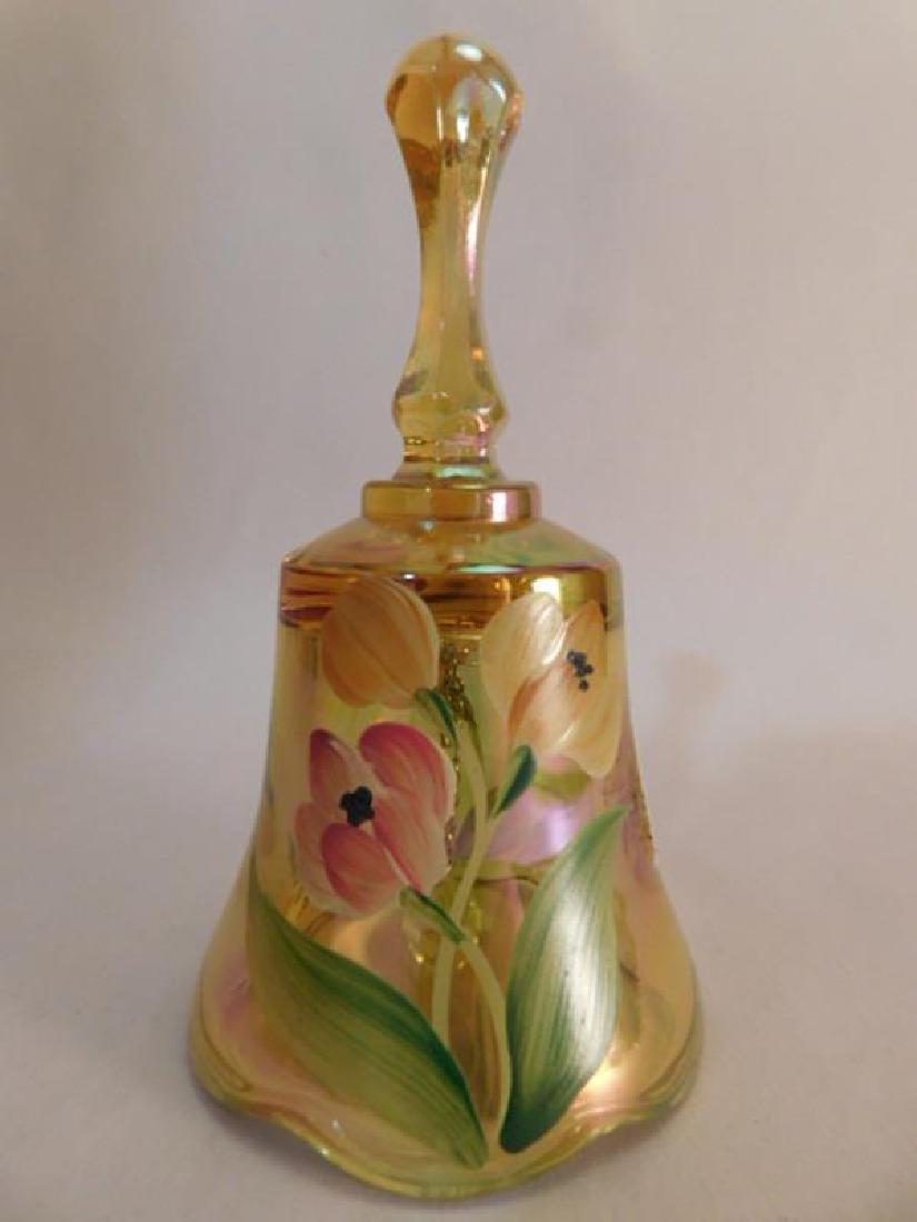 *FENTON ART GLASS USA HANDPAINTED BELL AUTUMN GOLD