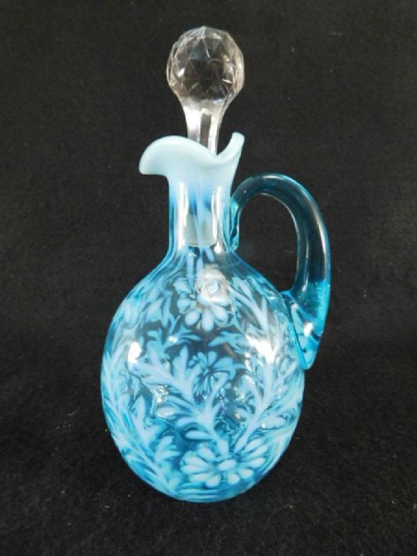 OPALESCENT BLUE FERN AND DAISY SYRUP JUG PITCHER 1800'S