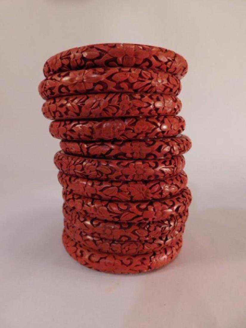 VINTAGE BRACELETS JEWELRY ANTIQUE RED LAQUER CARVED