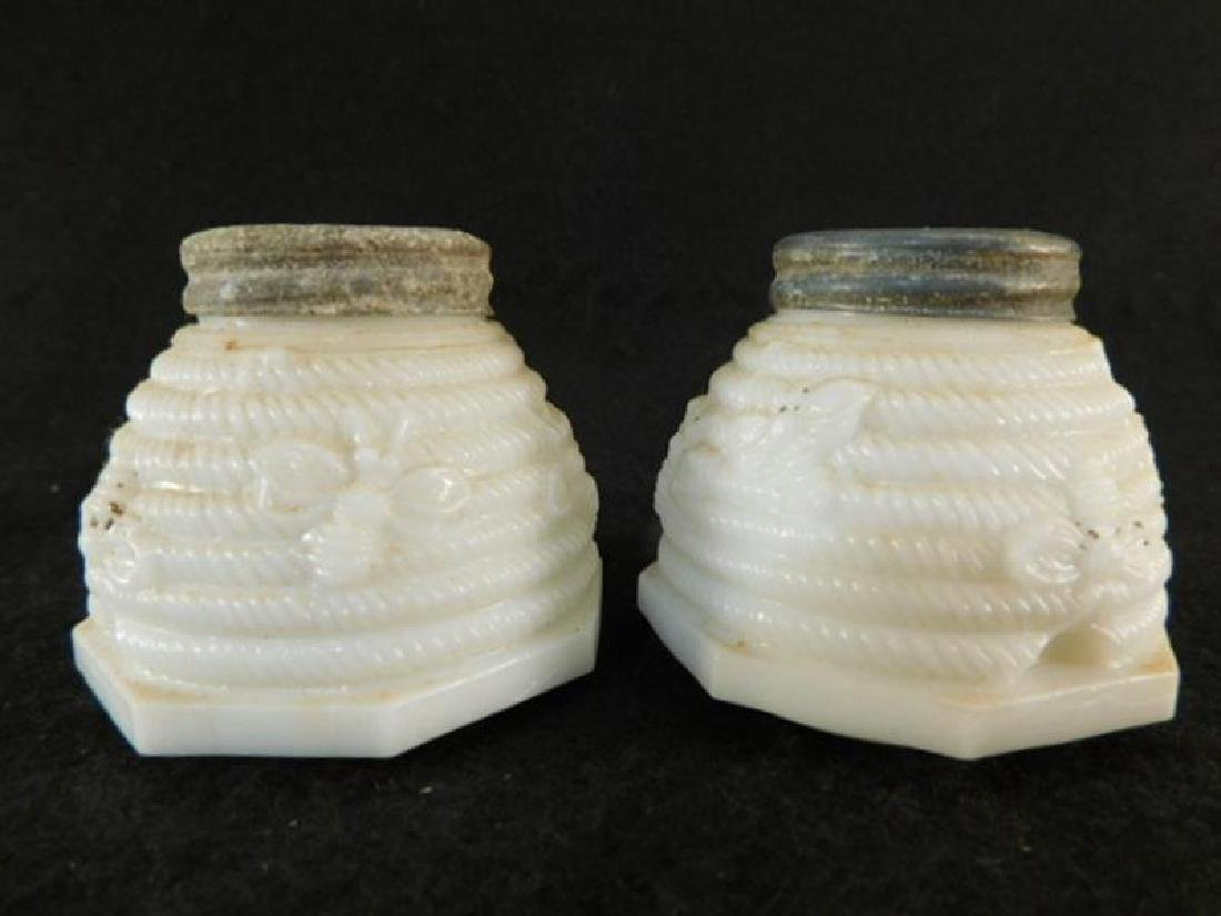 SCARCE BEE AND BEEHIVE CUSTARD GLASS OPAQUE GLASS SALT