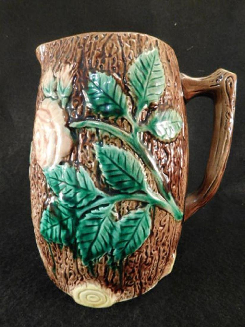 MAJOLICA PITCHER VINTAGE ANTIQUE ROSE