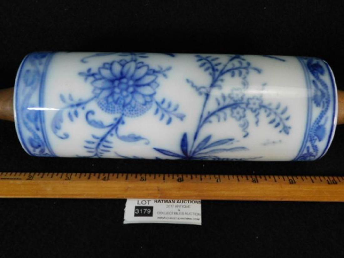 FLOW BLUE ROLLING PIN PORCELAIN WOODEN HANDLE - 3