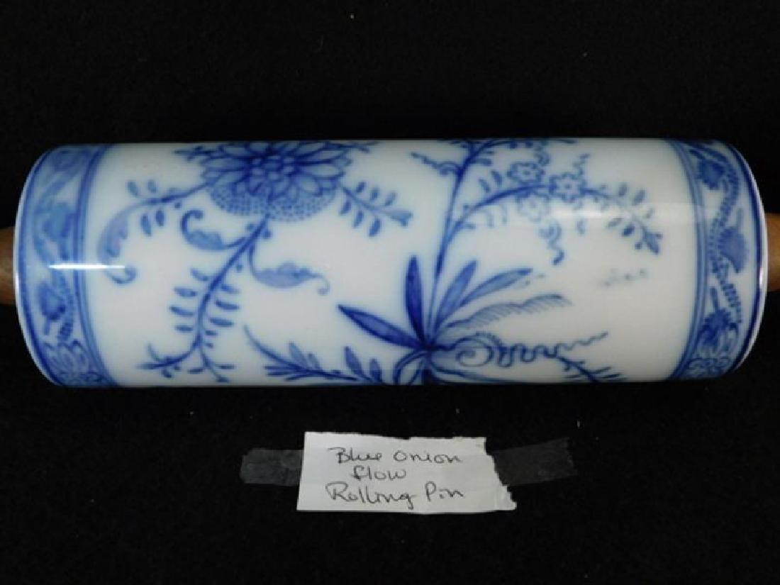 FLOW BLUE ROLLING PIN PORCELAIN WOODEN HANDLE - 4