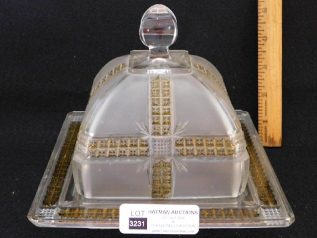 FINDLAY KLONDIKE EAPG GLASS SATIN BUTTER DISH - 2
