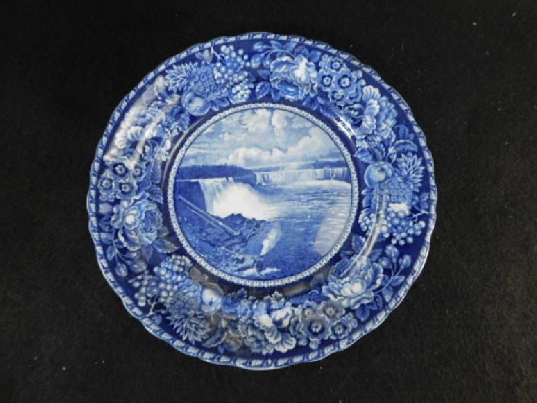 FLOW BLUE PLATE ROWLAND MARCELLUS NIAGARA FALLS
