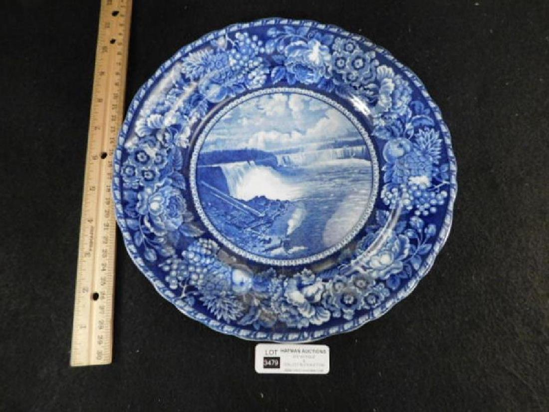 FLOW BLUE PLATE ROWLAND MARCELLUS NIAGARA FALLS - 2