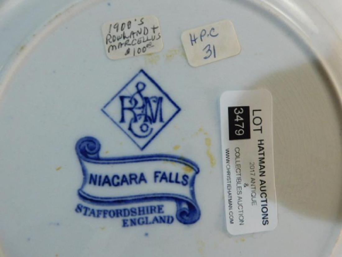 FLOW BLUE PLATE ROWLAND MARCELLUS NIAGARA FALLS - 3