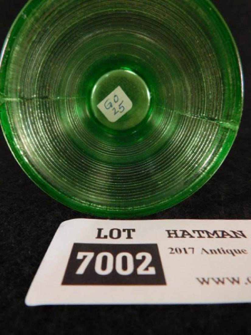 GREEN RIBBED EAPG OPALESCENT VASE VICTORIAN GLASS - 3