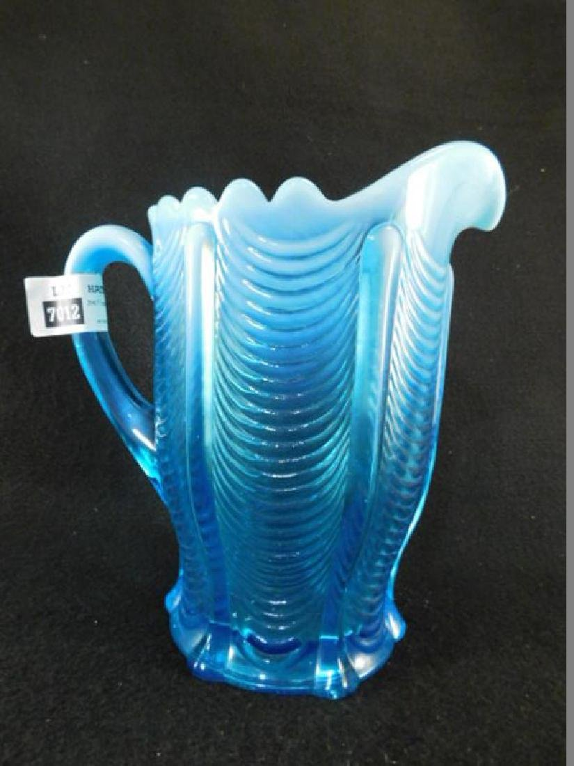 BLUE OPALESCENT DRAPE PITCHER EAPG 1800'S GLASS