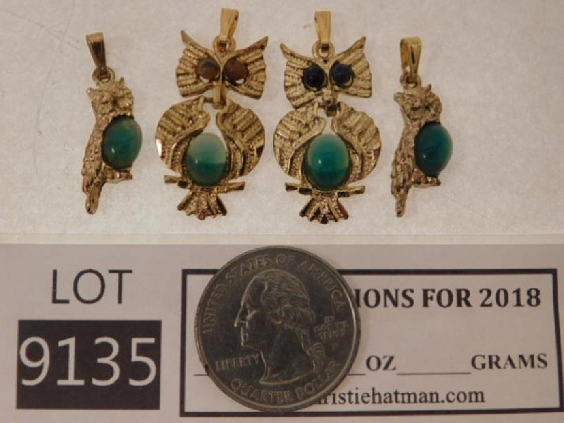 VINTAGE JEWELRY OWL PENDENT CABOCHON CATS EYES