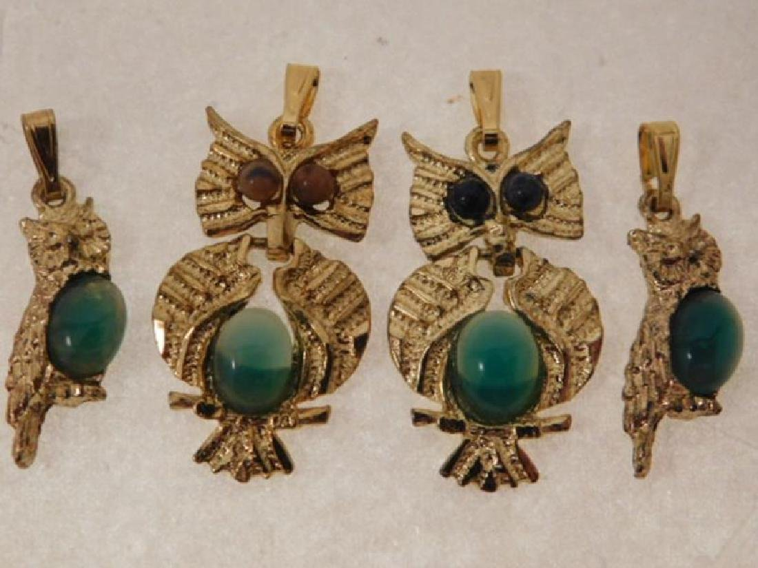 VINTAGE JEWELRY OWL PENDENT CABOCHON CATS EYES - 2