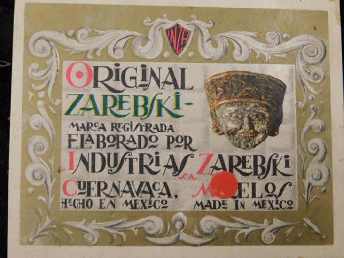 MEXICAN ARTIST ZAREBSKI STONE CARVED PEN HOLDER - 3