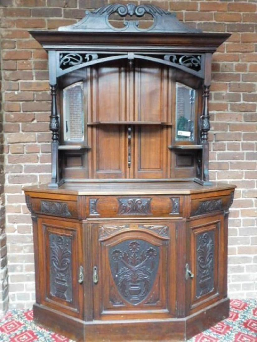 GERMAN BLACK FOREST CARVED ETAGERE CABINET 82 X 19 X 55