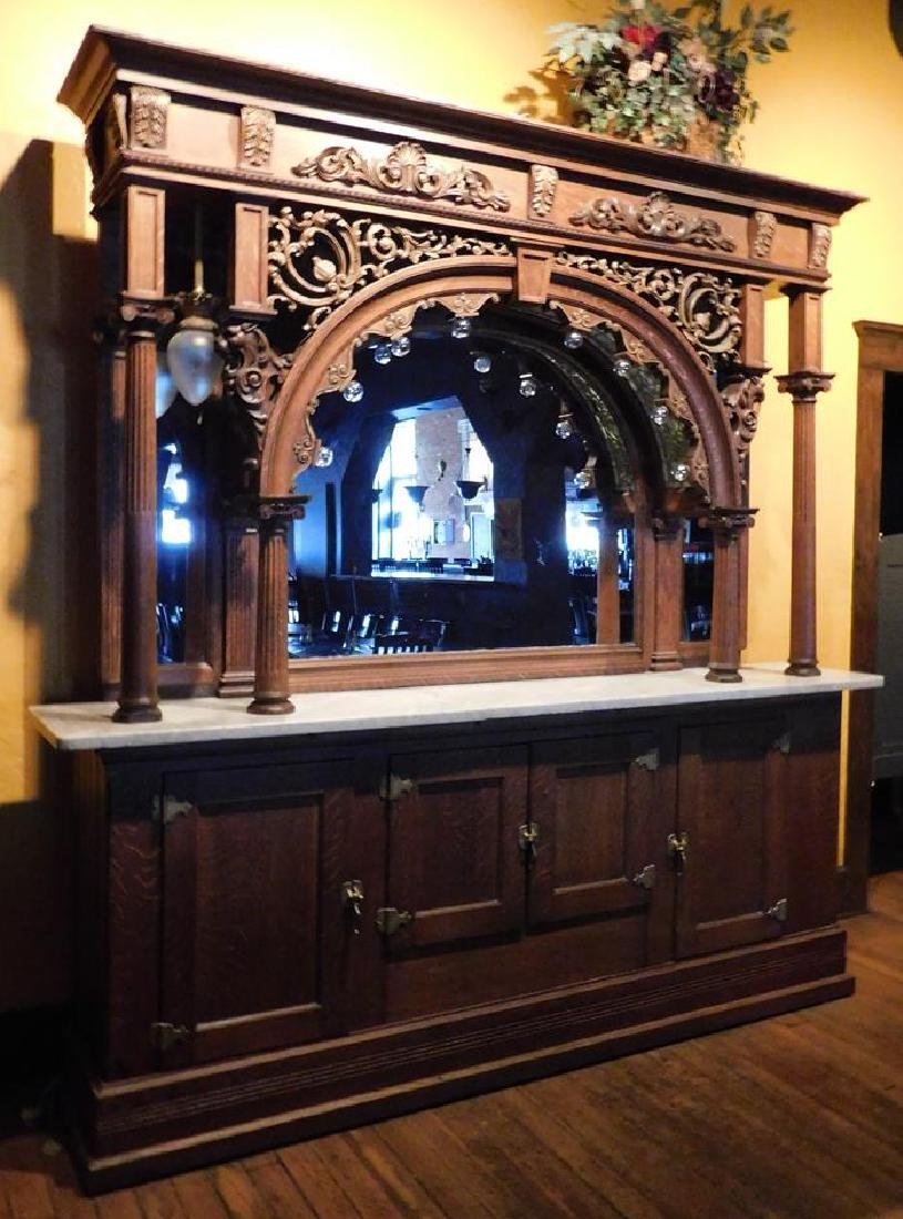 SALOON LIGHTED OAK BACK BAR, STAINED GLASS, CARVED,