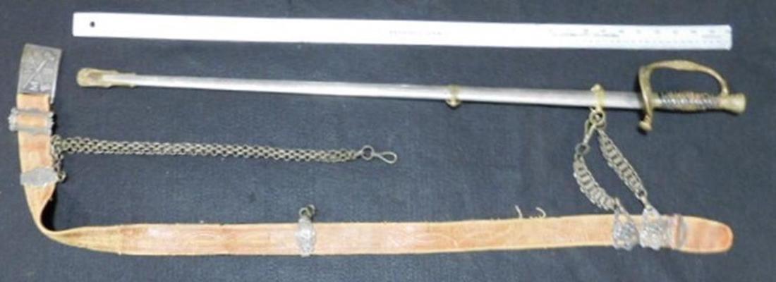 ANTIQUES VINTAGE SWORD WITH BELT FRATERNAL MODERN