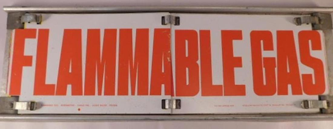 VINTAGE FLIP ANTIQUE METAL FLAMMABLE GAS SIGN