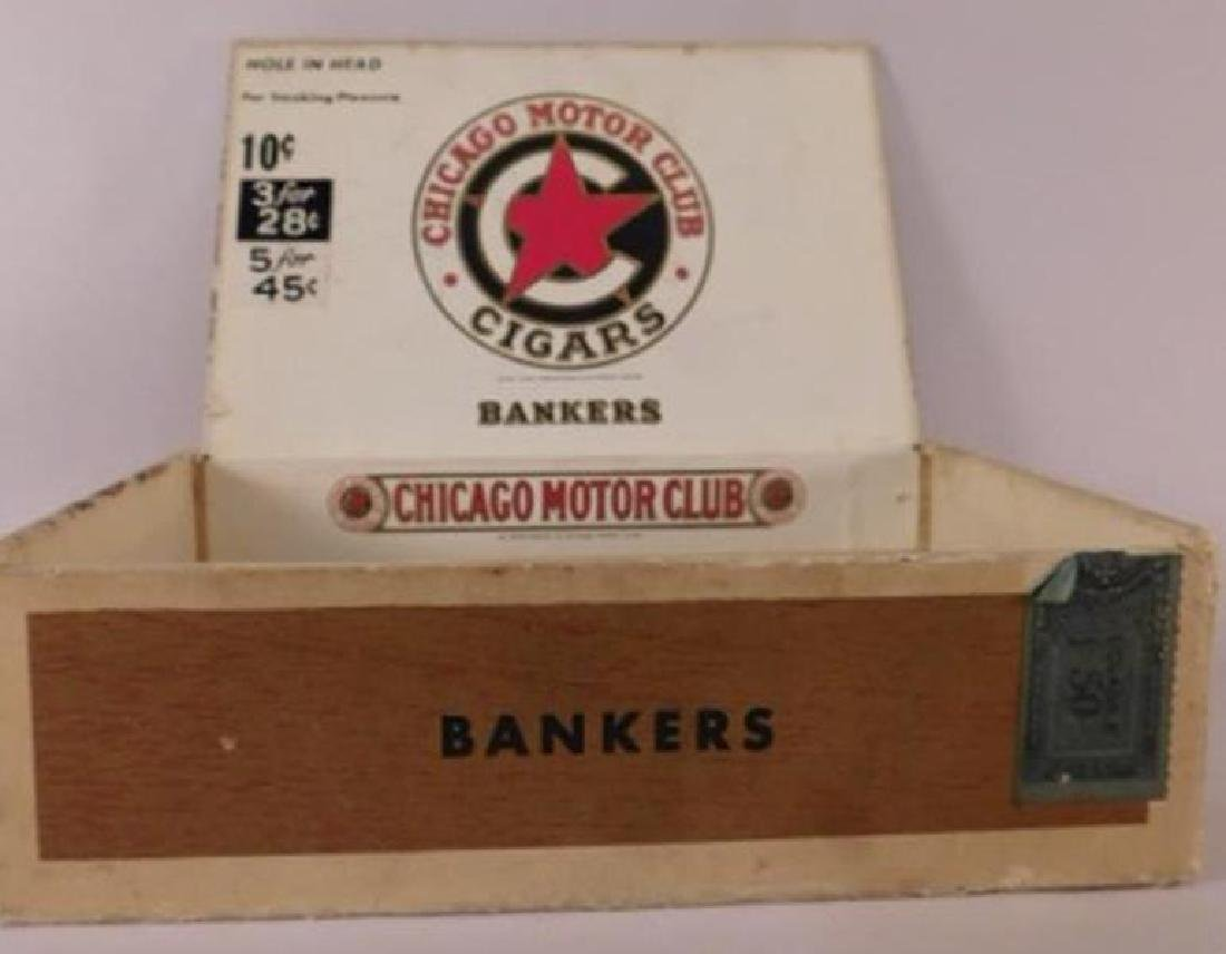 CHICAGO MOTOR CLUB BANKERS CIGAR BOX ANTIQUES AND