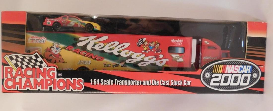 KELLOGS RACING CHAMPIONS TRANSPORTER AND DIE CAST STOCK