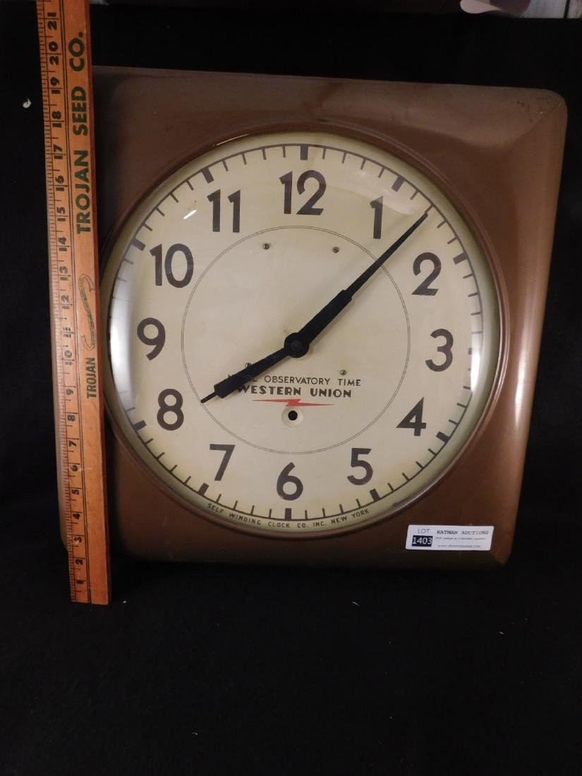 WESTERN UNION ADVERTISING  CLOCK KEY WIND NON ELECTRIC - 2