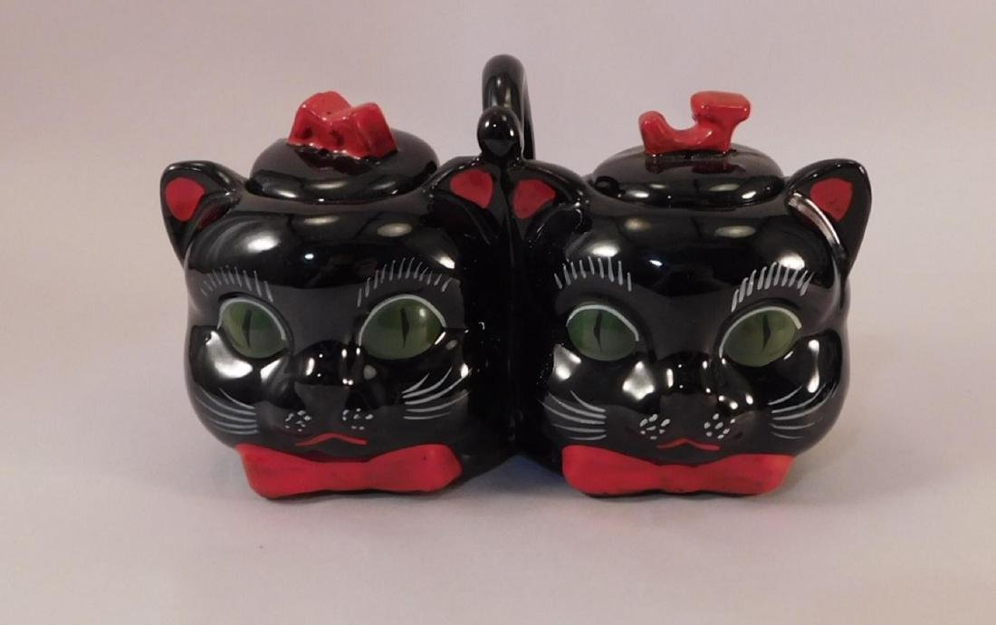 SHAFFORD POTTERY OF JAPAN CAT HEAD CREAMER AND SUGAR