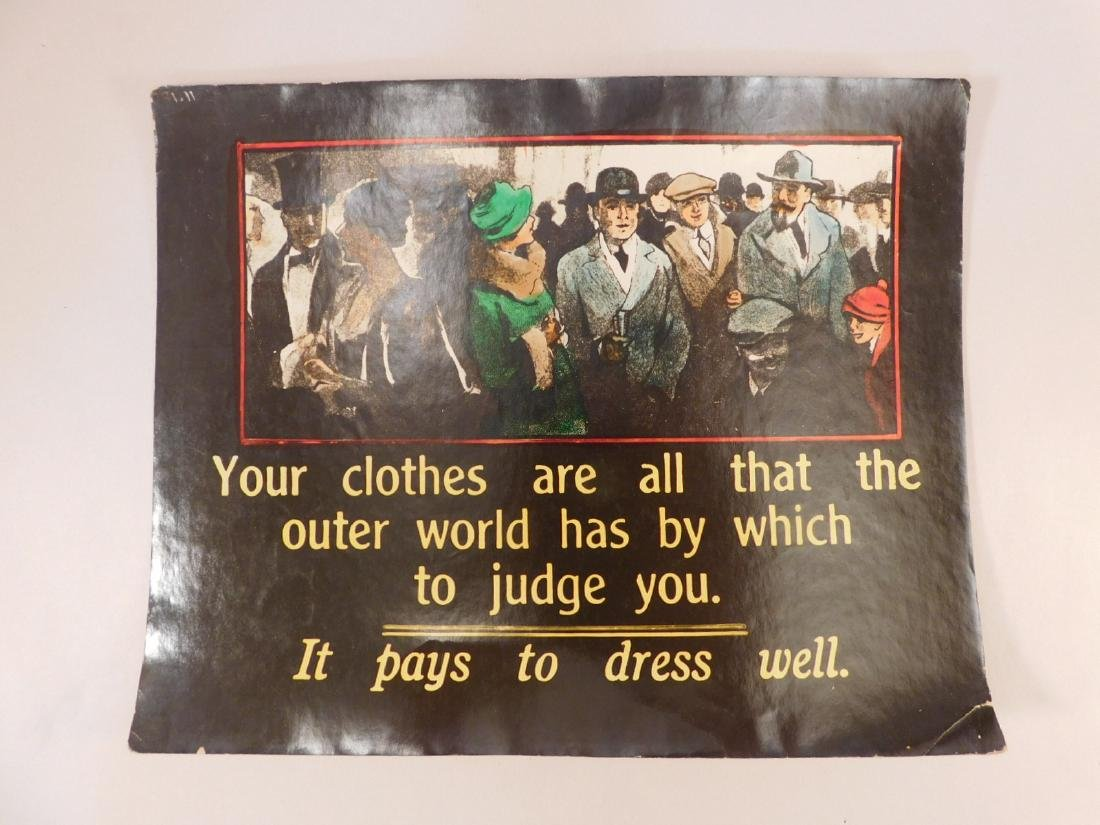 ADVERTISING VINTAGE ANTIQUE CLOTHING POSTER