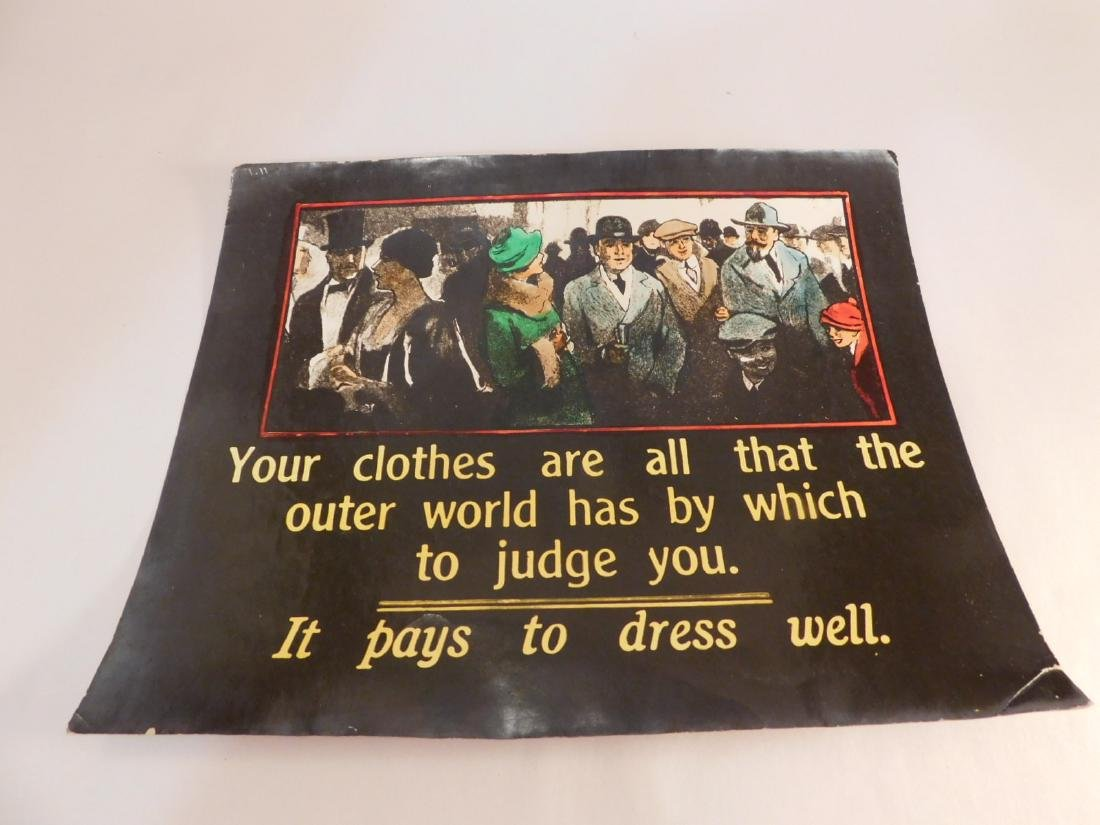 ADVERTISING VINTAGE ANTIQUE CLOTHING POSTER - 2
