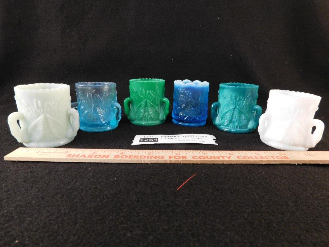 SWAN NECK TOOTHPICK HOLDERS OPALESCENT SET OF 6