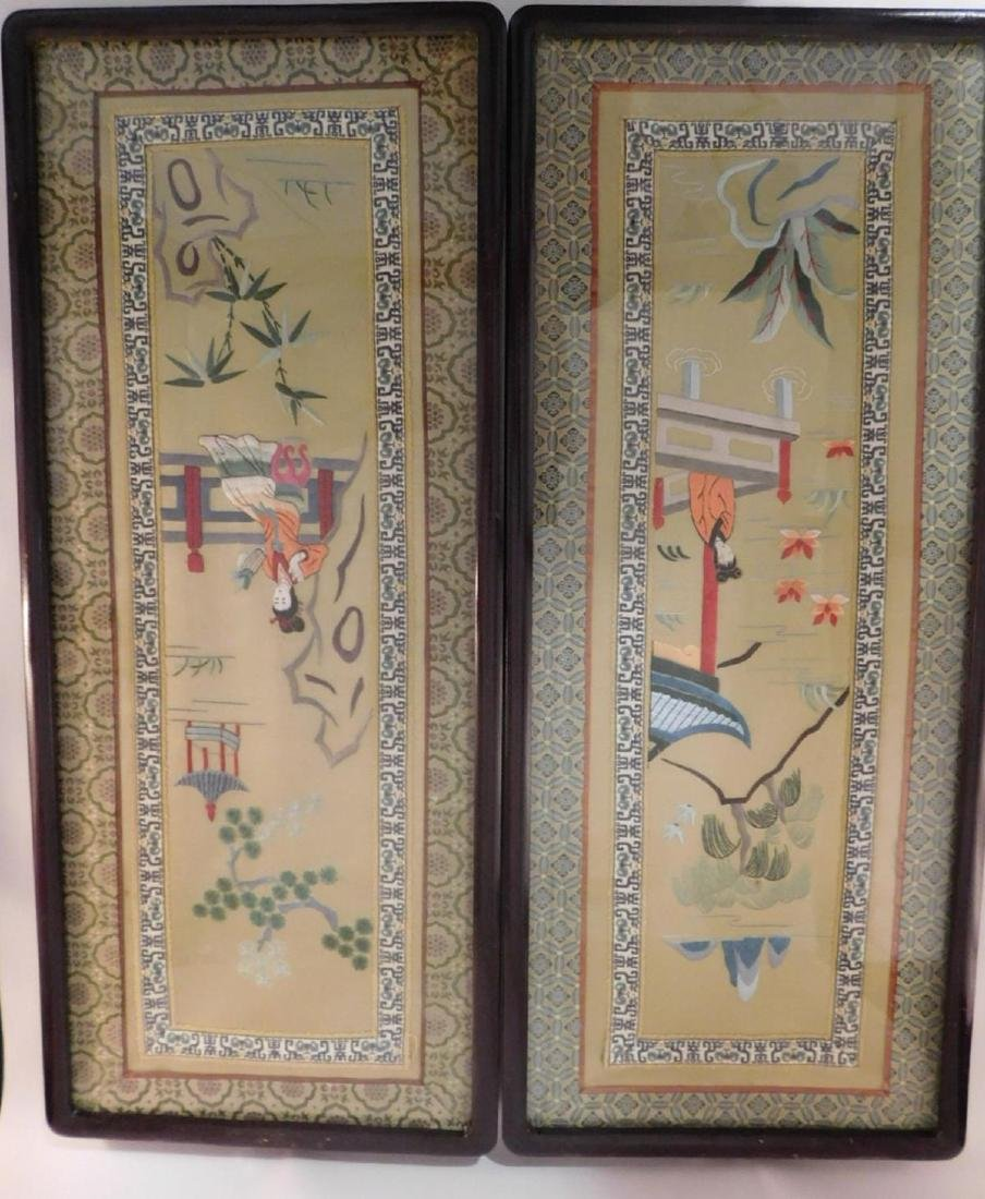 ORIENTAL CHINESE ANTIQUE PAIR SILK EMBROIDERY PICTURES
