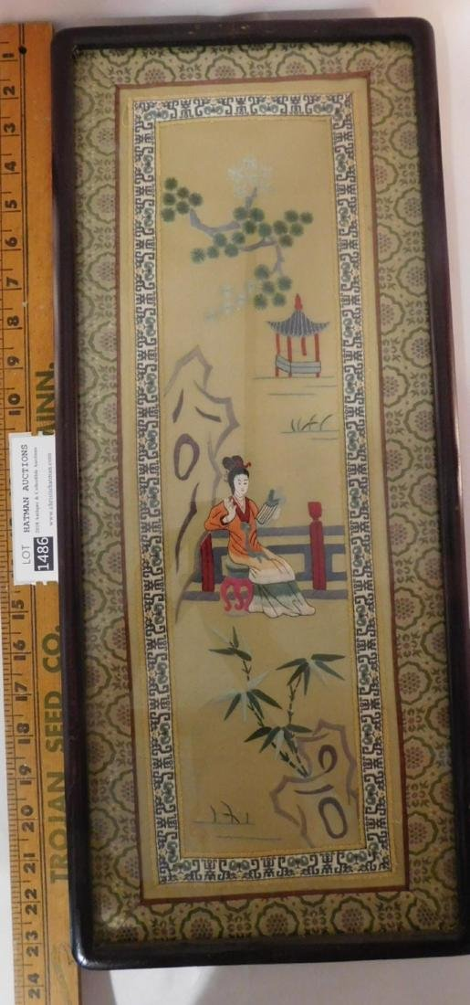 ORIENTAL CHINESE ANTIQUE PAIR SILK EMBROIDERY PICTURES - 2