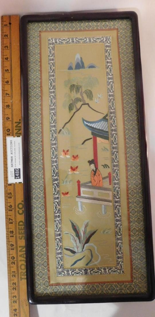 ORIENTAL CHINESE ANTIQUE PAIR SILK EMBROIDERY PICTURES - 3