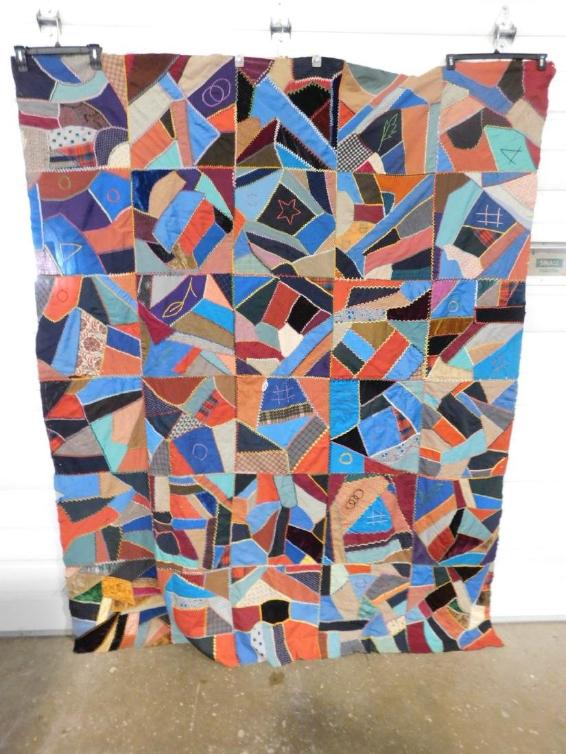 HAND MADE VINTAGE CRAZY QUILT TOP 71 INCHES X 91 INCHES