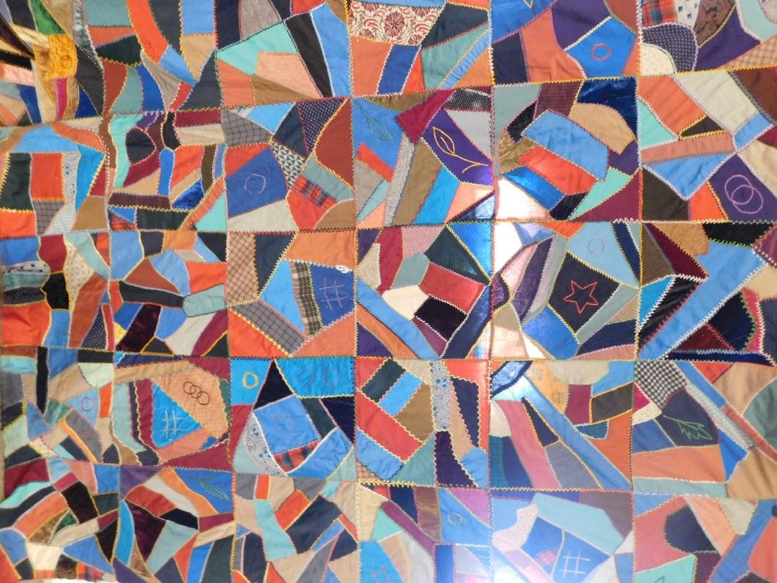 HAND MADE VINTAGE CRAZY QUILT TOP 71 INCHES X 91 INCHES - 2
