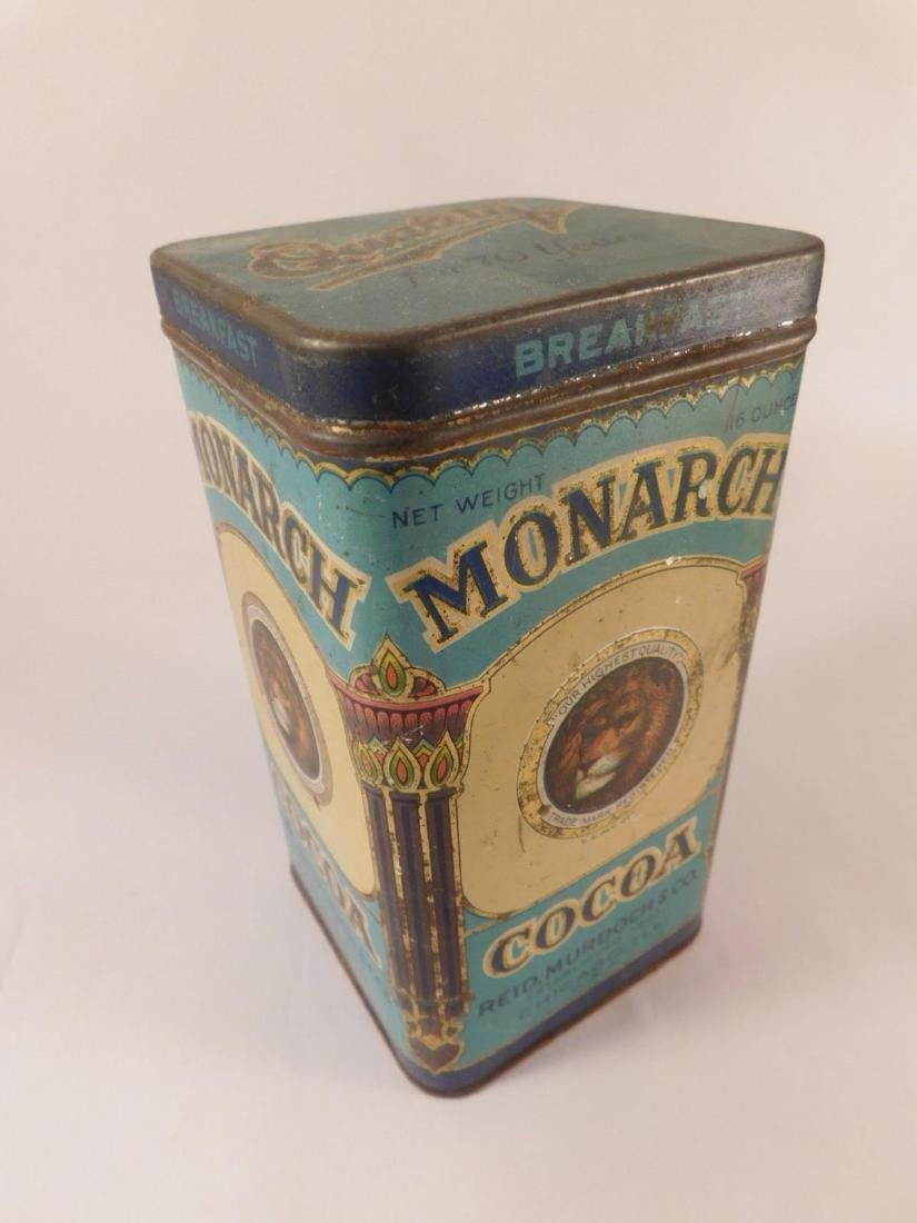 MONARCH COCOA METAL TIN VINTAGE ANTIQUE (YES, WE SHIP!)