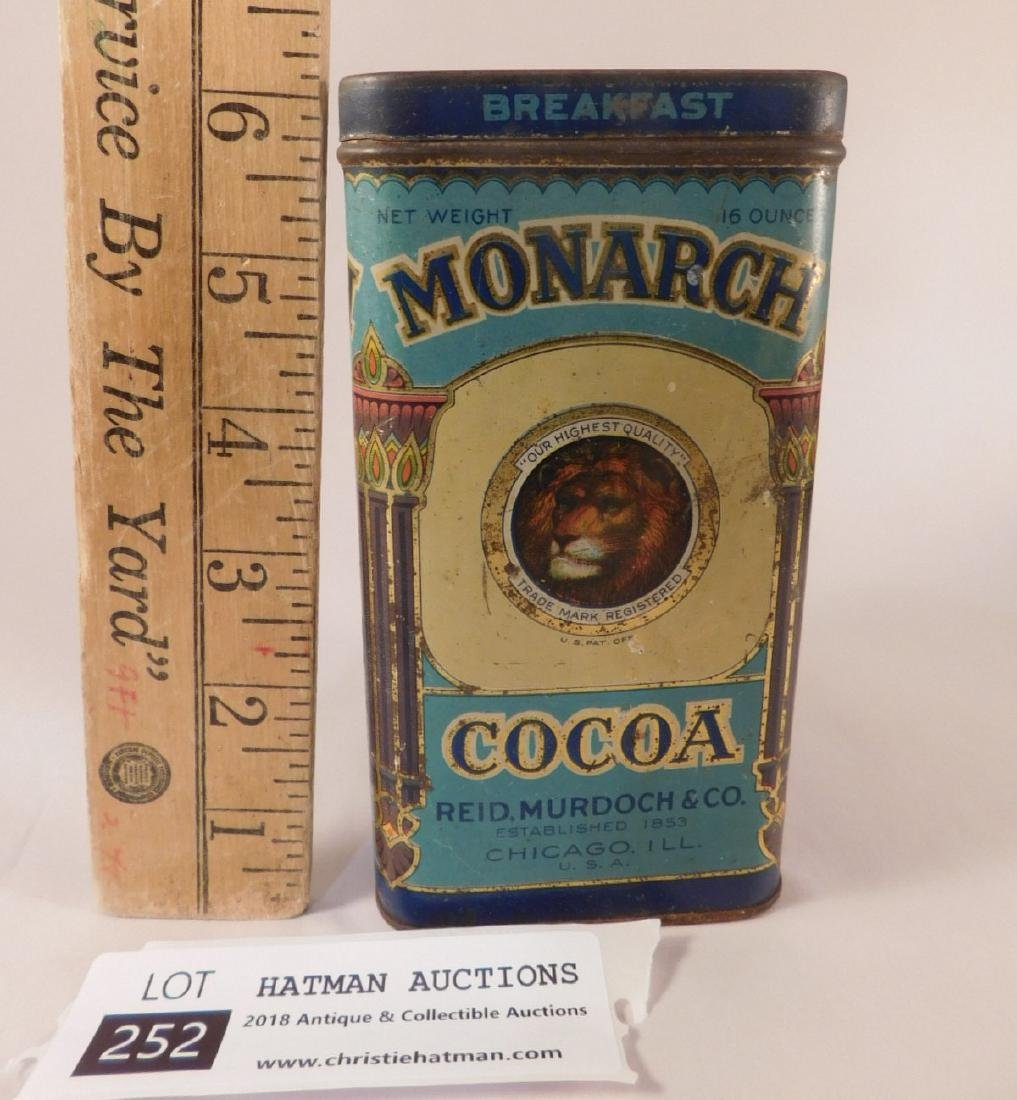 MONARCH COCOA METAL TIN VINTAGE ANTIQUE (YES, WE SHIP!) - 2
