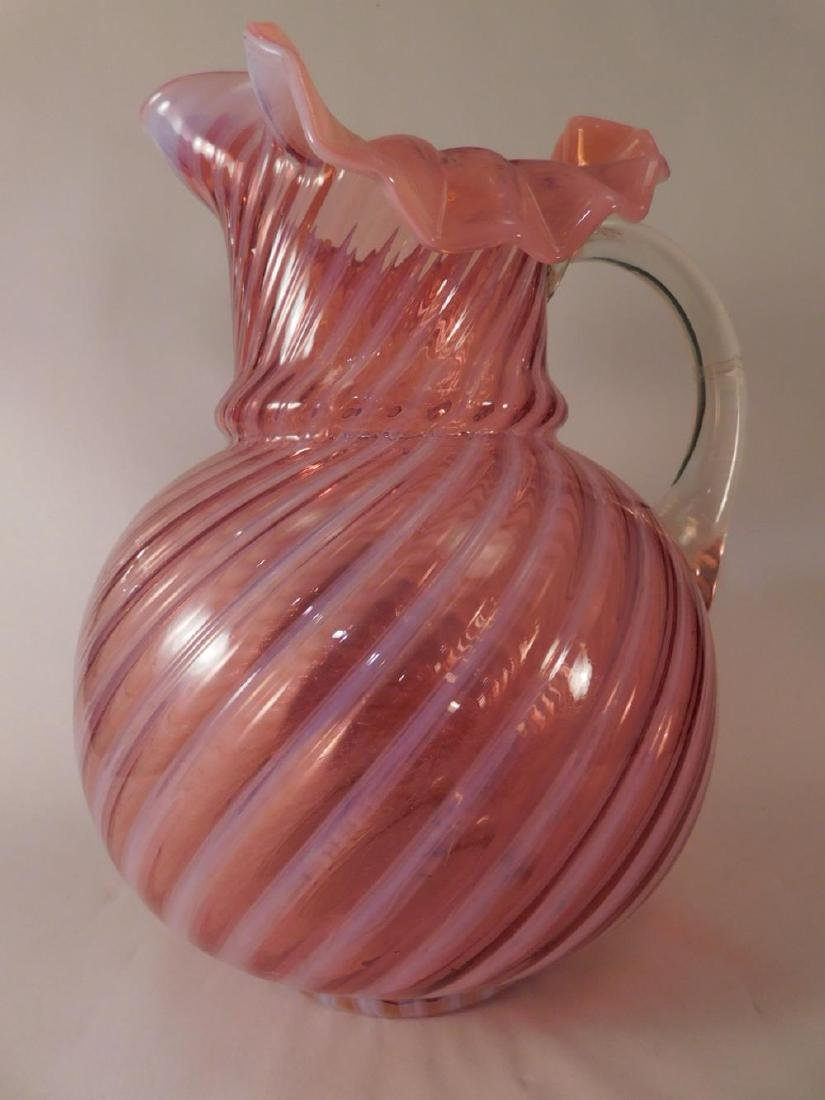 CRANBERRY GLASS  SWIRL FLUTED GLASS PITCHER 1800'S