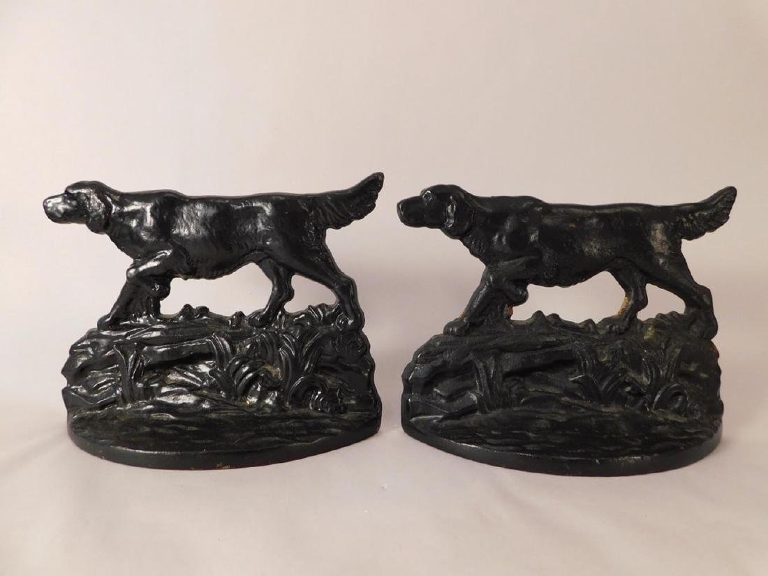 CAST IRON VINTAGE DOG DOORSTOPS BOOKENDS ANTIQUE HOUND