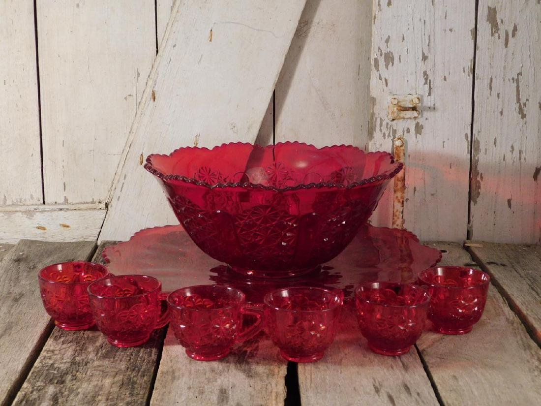FENTON GLASS RED FORMAL GLASS PUNCH BOWL 12 CUPS