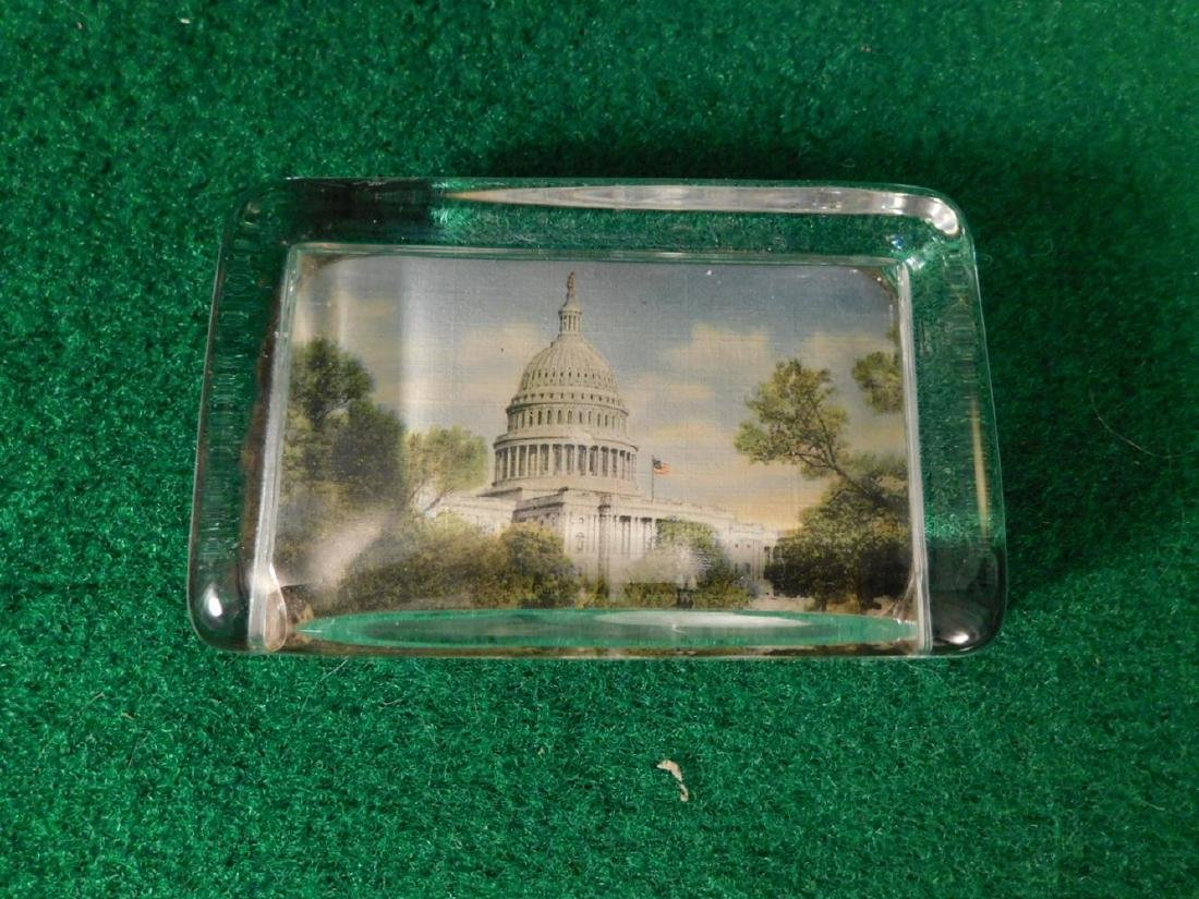 VINTAGE GLASS ADVERTISING PAPER WEIGHT