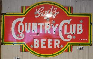 GOETZ COUNTRY CLUB BEER NEON SKIN PORCELAIN ADVERTISING