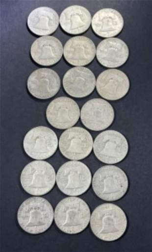 (20) VARIOUS DATES BEN FRANKLIN HALF DOLLARS