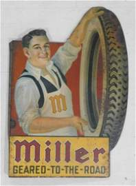 SCARCE MILLER TIRE TIN FLANGE SIGN 1920'S GEARED TO THE