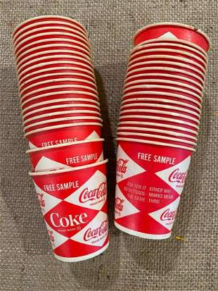 VINTAGE FREE SAMPLE COCA-COLA PAPER CUPS ANTIQUE
