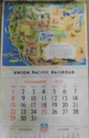 UNION PACIFIC RAILROAD CALENDAR 1957