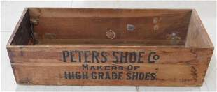 PETERS SHOE CO WOODEN CRATE VINTAGE ANTIQUE ADVERTISING